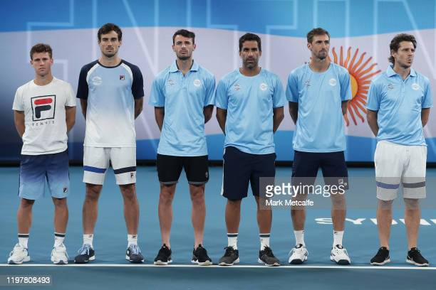 Team Argentina line up before their Group E match against Austria during day four of the 2020 ATP Cup Group State at Ken Rosewall Arena on January 06...