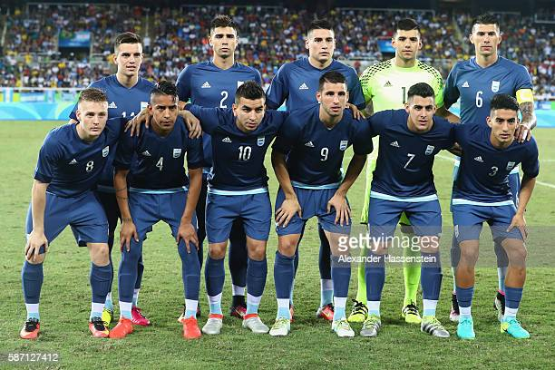 Team Argentina lineup for the Men's Group D first round match between Argentina and Algeria during the Rio 2016 Olympic Games at the Olympic Stadium...