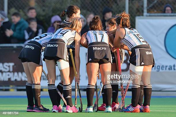 Team Argentina react during the international women's hockey test match between the New Zealand Black Sticks and the Argentina Las Leonas on October...