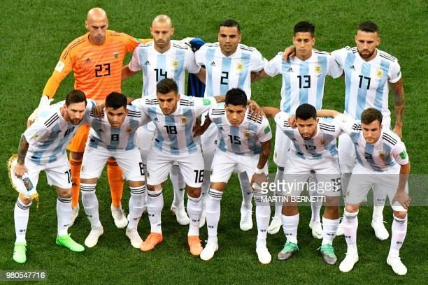 Team Argentina wiyh Argentina's goalkeeper Willy Caballero Argentina's midfielder Javier Mascherano Argentina's defender Gabriel Mercado Argentina's...