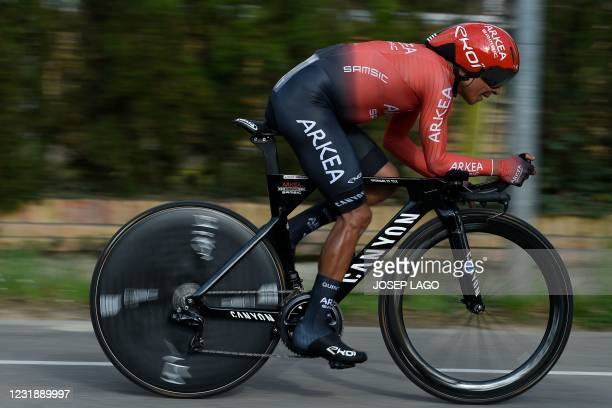 Team Arkea - Samsic rider Colombia's Nairo Quintana competes during the second stage of the 100th Volta Catalunya 2021 a 18,5 km Individual...