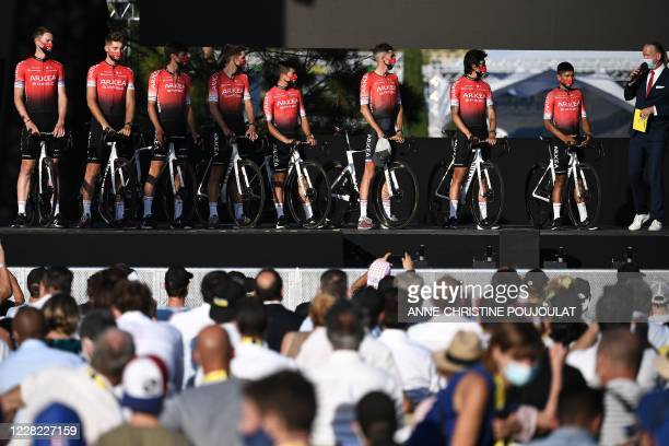 Team Arkea - Samsic riders attend the teams' presentation two days before the start of the 1st stage of the 107th edition of the Tour de France...