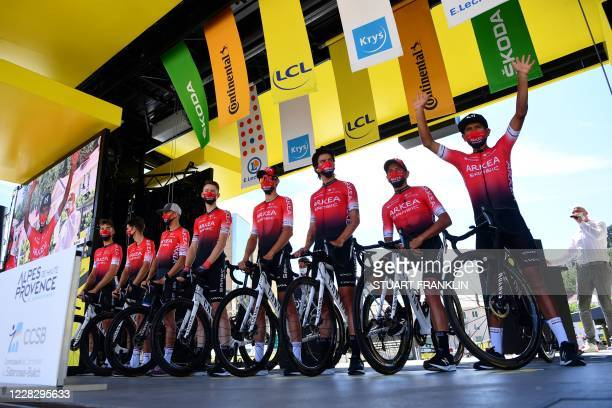 Team Arkea Samsic riders pose on stage prior to the 4th stage of the 107th edition of the Tour de France cycling race, 157 km between Sisteron and...