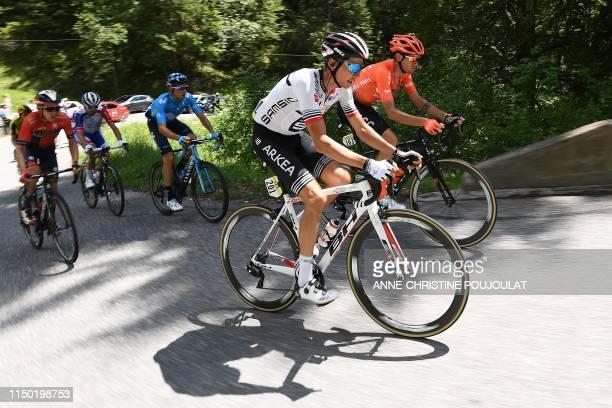 Team Arkea-Samsic rider France's Warren Barguil rides in a breakaway with CCC Team rider Italy's Alessandro De Marchi , Bahrain-Merida rider...