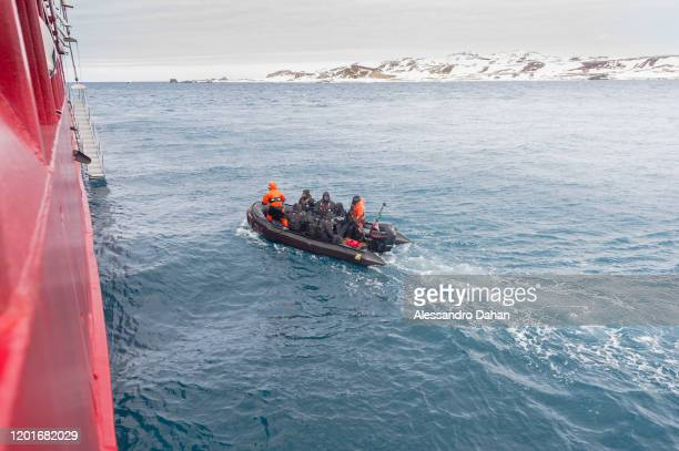 Team arriving to board the Polar Ship Admiral Maximiano H41 on November 04 2019 in King George Island Antarctica