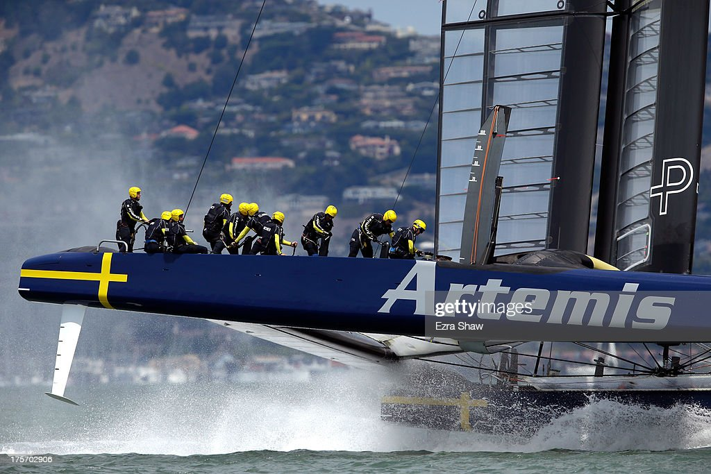 Team Artemis Racing skippered by Iain Percy warms up before their race against Team Luna Rossa Challenge skippered by Massimiliano Sirena in race one of the Louis Vuitton Cup semi final on August 6, 2013 in San Francisco, California. The winner of the Louis Vuitton Cup goes on to race against Oracle Team USA in the America's Cup Finals that start on September 7. Team Luna Rossa Challenge won the race.