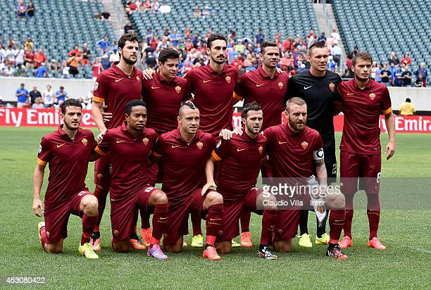 Team AS Roma pose for a photo prior to the International Champions Cup 2014 at Lincoln Financial Field on August 2 2014 in Philadelphia Pennsylvania