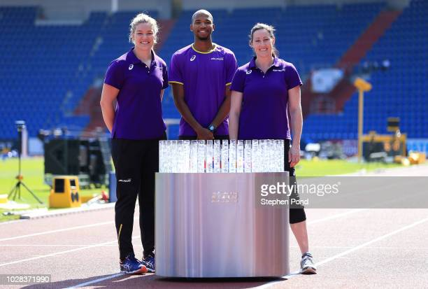 Team AsiaPacific representatives Abderrahman Samba and Dani Stevens pose for a photo with Team AsiaPacific Ambassador Jana Pittman prior to the IAAF...