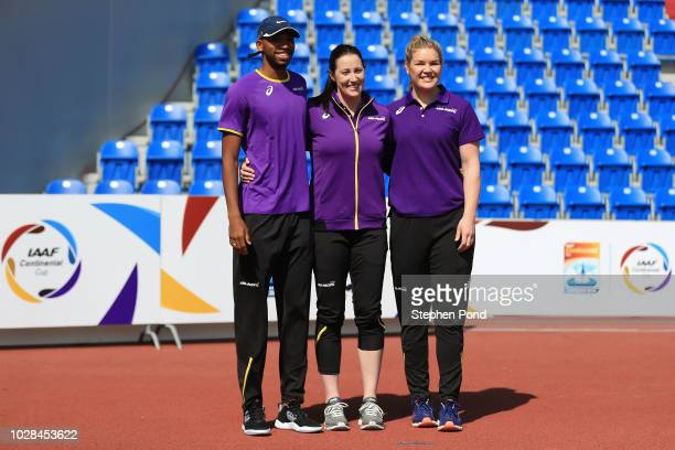 Team AsiaPacific representatives Abderrahman Samba and Dani Stevens pose for a photo with Team AsiaPacific Ambassador Jana Pittman prior to the IAAF...