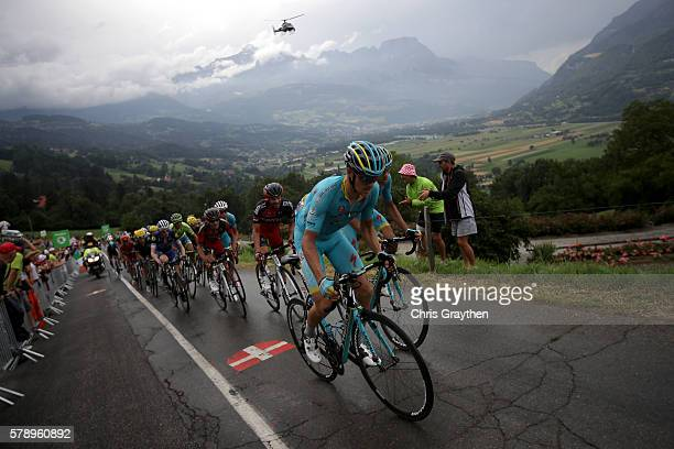 Team Astana drives the peloton during stage ninteen of the 2016 Le Tour de France a 146km stage from Albertville to Saint Gervais Mont Blanc on July...