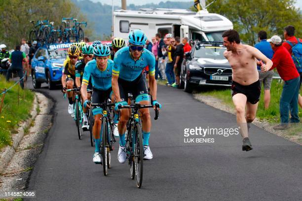 Team Astana rider Spain's Pello Bilbao and Team Astana rider Colombia's Miguel Angel Lopez ride during stage thirteen of the 102nd Giro d'Italia -...