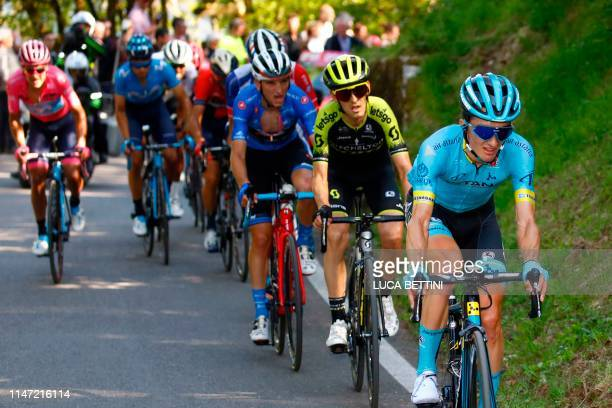 Team Astana rider Spain's Pello Bilbao rides in the Monte Avena ascent during stage twenty of the 102nd Giro d'Italia Tour of Italy cycle race 194kms...