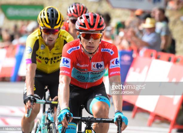Team Astana's Colombian rider Miguel Angel Lopez Moreno crosses the finish line of the sixth stage of the 2019 La Vuelta cycling tour of Spain, a...
