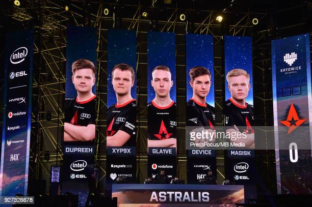 Team Astralis during CounterStrike Global Offensive semi final game between Astralis and FaZe Clan on March 3 2018 in Katowice Poland