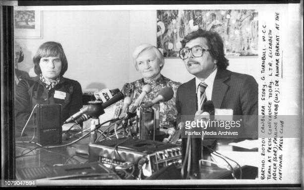 W C C Team at Press Conference today L T R Elizabeth Adler Pauline Webb Dr Anwar Barkat at the National Press Club July 01 1981