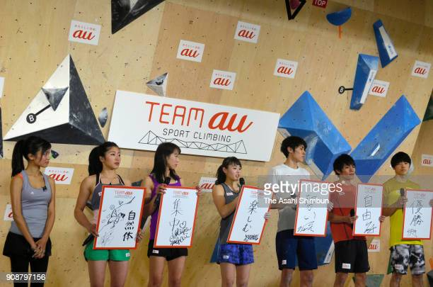 Team au members hold their new year resolutions during a Sport Climbing Team au press conference on January 22 2018 in Tokyo Japan