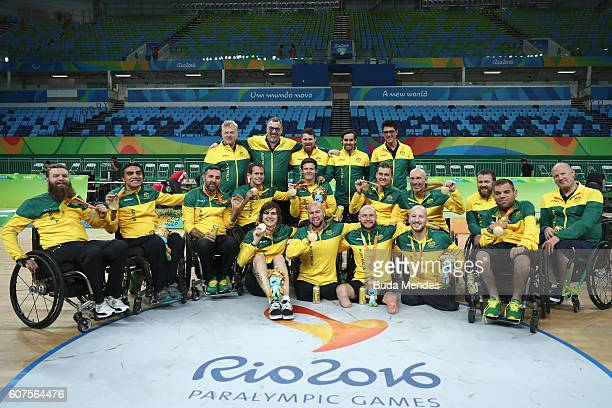 Team Australia celebrate after winning the match against the United States in the Men's Wheelchair Rugby Gold Medal match on day 11 of the Rio 2016...