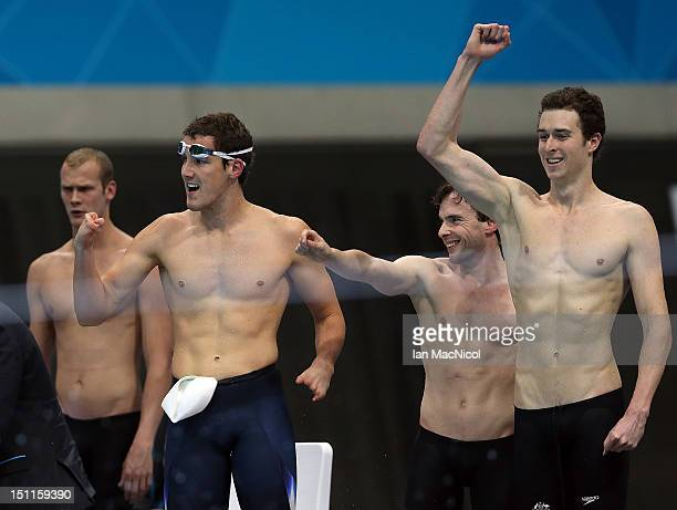 Team Australia celebrate victory in the Men's 4x100m Freestyle Relay on day four of the London 2012 Paralympic Games at the Aquatics Centre on...