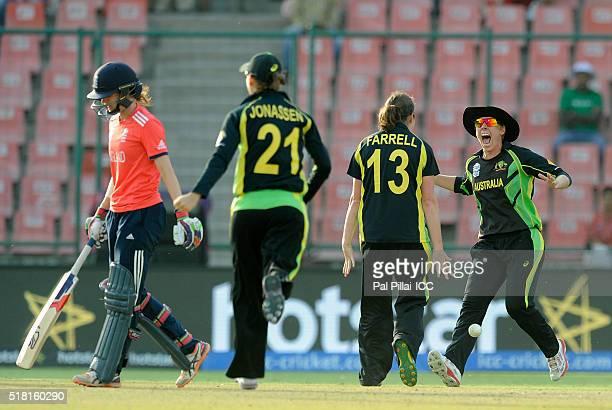 Team Australia celebrates after winning Women's ICC World Twenty20 India 2016 Semi Final match between England and Australia at the Feroz shah Kotla...