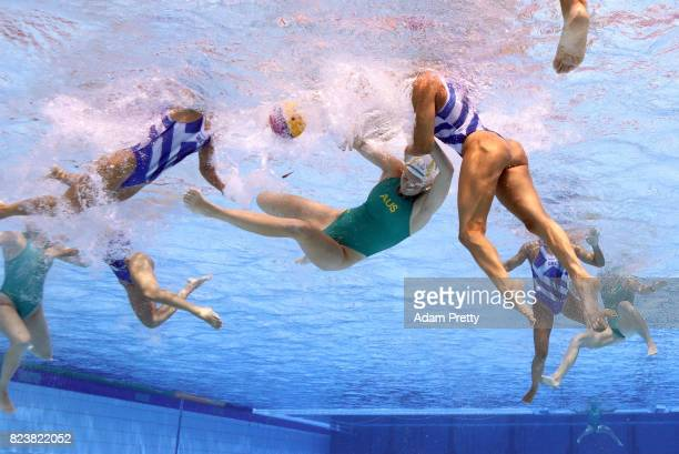 Team Australia competes against Team Greece during the Women's Water Polo Classification 78 on day fifteen of the Budapest 2017 FINA World...