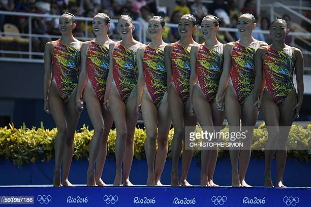 Team Australia competes in the Teams Free Routine final during the synchronised swimming event at the Maria Lenk Aquatics at the Rio 2016 Olympic...