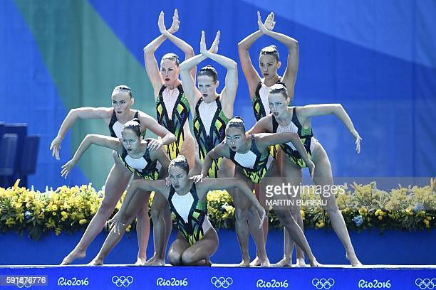 Team Australia competes in the Teams Technical Routine Final during the synchronised swimming event at the Maria Lenk Aquatics at the Rio 2016...