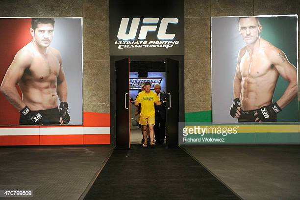 Team Australia fighter Daniel Kelly enters the gym before taking on Team Canada fighter Sheldon Westcott in their middleweight fight during filming...