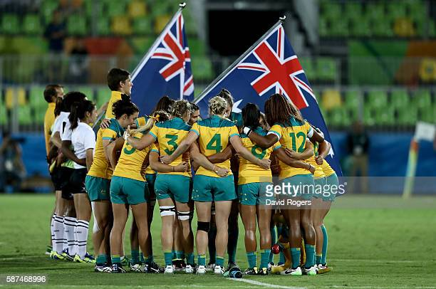 Team Australia huddles ahead of the Women's Gold Medal Rugby Sevens match between Australia and New Zealand on Day 3 of the Rio 2016 Olympic Games at...