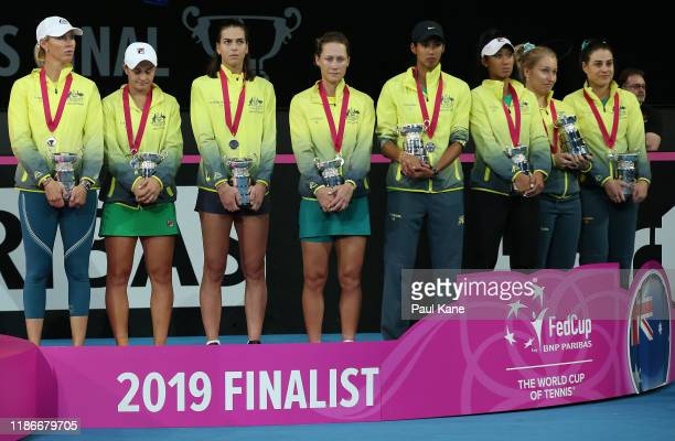 Team Australia look on after being defeated in the 2019 Fed Cup Final tie between Australia and France at RAC Arena on November 10 2019 in Perth...