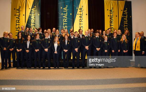 Team Australia pose during the flag bearer ceremony ahead of the Opening Ceremony of the PyeongChang 2018 Winter Olympic Games on February 8 2018 in...