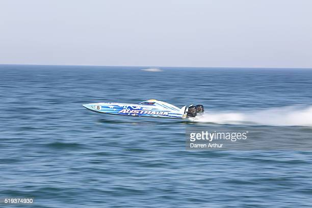 Team Australia take first place at practice on the first day of first round of the UIM XCAT World Series 2016 where 14 boats are competing XCAT short...