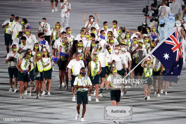 Team Australia walk in the parade during the Opening Ceremony of the Tokyo 2020 Olympic Games at Olympic Stadium on July 23, 2021 in Tokyo, Japan.