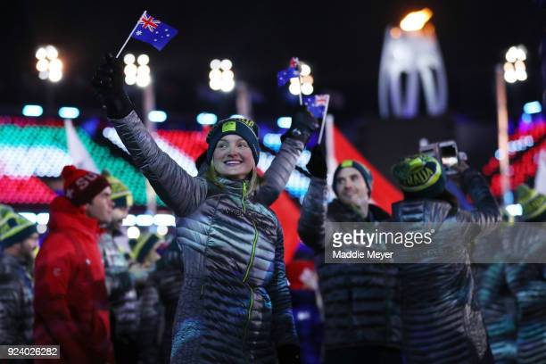 Team Australia walk in the Parade of Athletes during the Closing Ceremony of the PyeongChang 2018 Winter Olympic Games at PyeongChang Olympic Stadium...