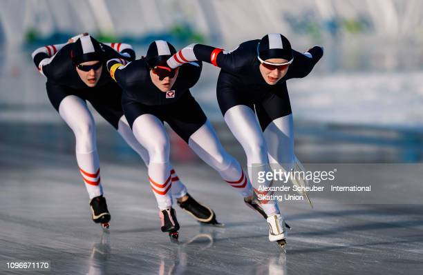 Team Austria competes in the Ladies Team Pursuit sprint race during the ISU Junior World Cup Speed Skating Final day 1 on February 9 2019 in Trento...