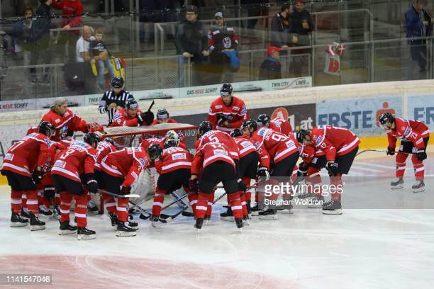 Team austria during the Austria v Denmark - Ice Hockey International Friendly at Erste Bank Arena on May 5, 2019 in Vienna, Austria.