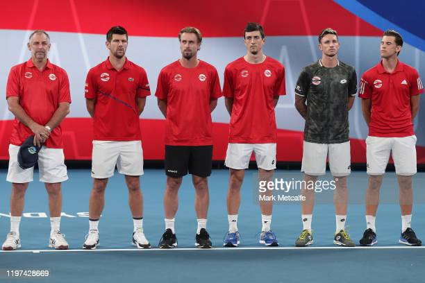 Team Austria line up prior to their Group E matches against Croatia during day two of the 2020 ATP Cup Group Stage at Ken Rosewall Arena on January...