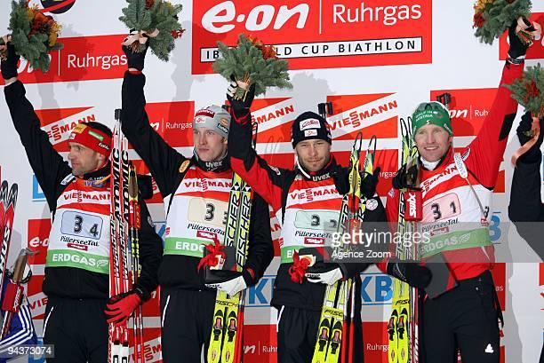 Team Austria take 1st place during the eon Ruhrgas IBU Biathlon World Cup Men's 4 x 75 km Relay on December 13 2009 in Hochfilzen Austria