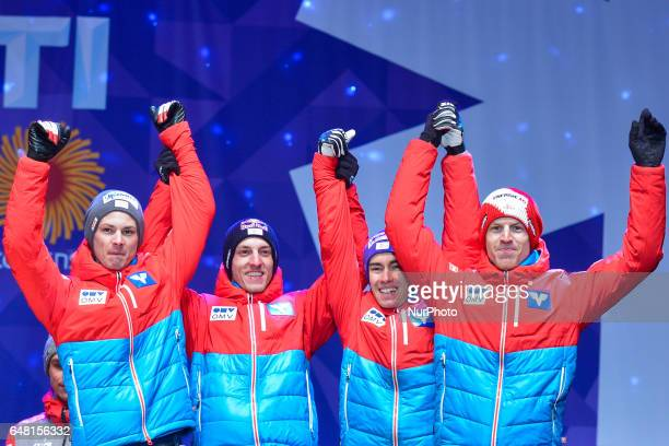 Team Austria takes Bronze in Men Large Hill Team final in ski jumping at FIS Nordic World Ski Championship 2017 in Lahti On Saturday March 4 in Lahti...
