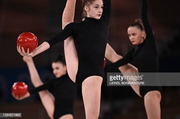 Team Azerbaijan competes in the group all-around qualification of the Rhythmic Gymnastics event during Tokyo 2020 Olympic Games at Ariake Gymnastics...
