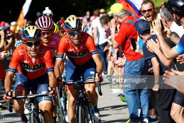 Team Bahrain rider Italy's Domenico Pozzovivo and Team Bahrain rider Italy's Vincenzo Nibali ride during stage twenty of the 102nd Giro d'Italia Tour...