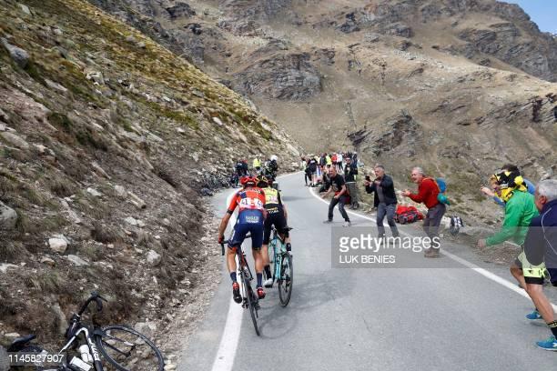 Team Bahrain rider Italy's Vincenzo Nibali and Team Jumbo rider Slovenia's Primoz Roglic ride during stage thirteen of the 102nd Giro d'Italia Tour...