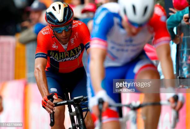 Team Bahrain rider Italy's Vincenzo Nibali crossing the finish line after the fourth stage of the 102nd Giro d'Italia - Tour of Italy - cycle race,...