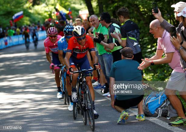Team Bahrain rider Italy's Vincenzo Nibali followed by Team Movistar rider Spain's Mikel Landa and Team Movistar rider Ecuador's Richard Carapaz...