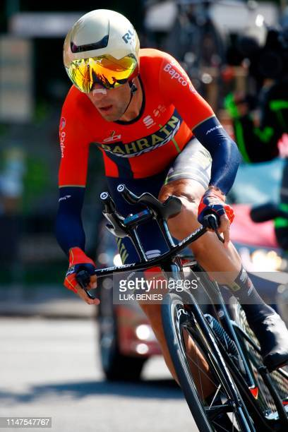 Team Bahrain rider Italy's Vincenzo Nibali rides during stage twentyone the final stage of the 102nd Giro d'Italia Tour of Italy cycle race a 17km...