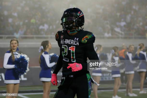 Team Ballaholics defensive back Shilo Sanders during player introductions before the 2019 Under Armour AllAmerica Game between Team Ballaholics and...