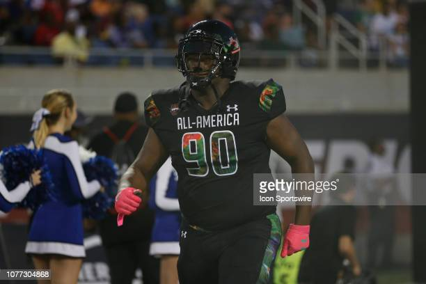 Team Ballaholics defensive tackle Jaquaze Sorrells during player introductions before the 2019 Under Armour AllAmerica Game between Team Ballaholics...