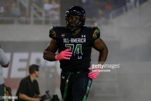 Team Ballaholics defensive tackle Jowon Briggs during player introductions before the 2019 Under Armour AllAmerica Game between Team Ballaholics and...