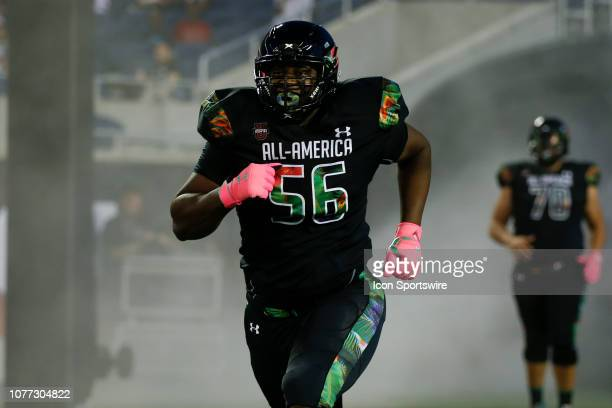 Team Ballaholics offensive tackle Devontae Dobbs during player introductions before the 2019 Under Armour AllAmerica Game between Team Ballaholics...