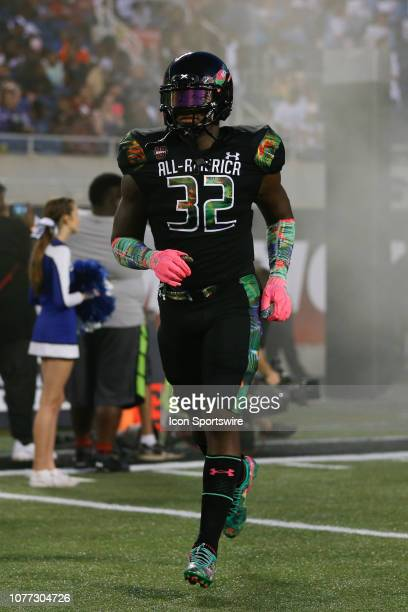 Team Ballaholics outside linebacker GeMon Eaford during player introductions before the 2019 Under Armour AllAmerica Game between Team Ballaholics...