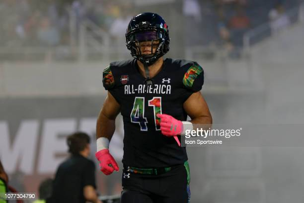Team Ballaholics outside linebacker Josh Calvert during player introductions before the 2019 Under Armour AllAmerica Game between Team Ballaholics...